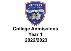 Admissions & Applications Year 1 2022/2023
